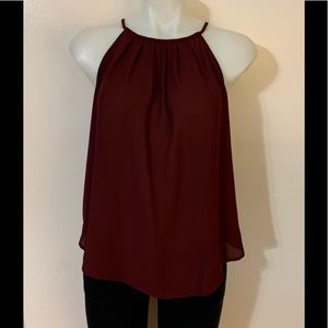 Lush Burgundy Sleeveless Blouse Sz XS